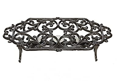 Creative Co-op Black Cast Iron Dish Warmer, Black