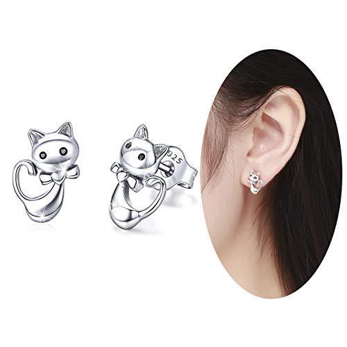 f6645a56a Bamoer Sterling Silver Women's Earring Meow Cat Earrings Stud for Baby Girl