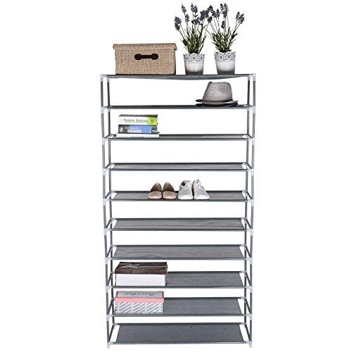TOP-MAX Shoe Rack Steel Shelf Grey 10 Tiers More Than 30 Pairs Capacity Holder Storage Organizer Adjustable Shoe Holder Home Shoe Shop