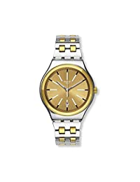 SWATCH MEN'S 42MM TWO TONE STEEL BRACELET SWISS QUARTZ ANALOG WATCH YWS421G