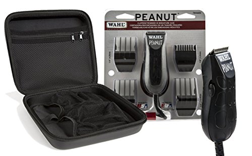 Wahl Professional Peanut Clipper/Trimmer #8655-200, Black with Travel Storage Case #90730 Great for Barbers and Stylists