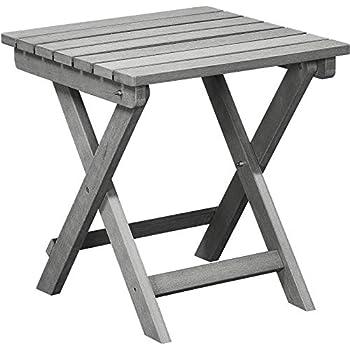Amazon Com Polyteak Folding Side Table Stone Gray