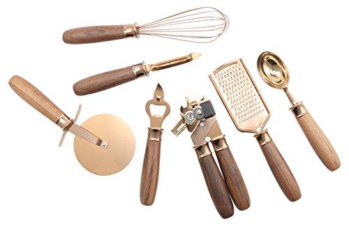 Cambridge Silversmiths Walnut Handle Copper Pvd 7 Piece Gadget Set - 7 Piece Walnut Finish Wood