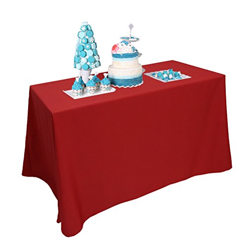 BalsaCircle TRLYC 90x132 Rectangular Red Polyester Tablecloth 100% Polyester 6FT Wedding Table ()
