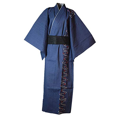MAYSONG Men's Japanese Yukata Japanese Kimono Embroidered Robe Pajamas Dressing Gown LBlue
