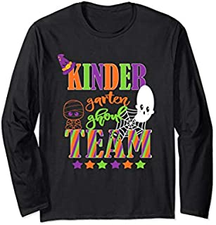 Kindergarten Halloween Teacher Student Cute Ghoul Team Long Sleeve T-shirt | Size S - 5XL
