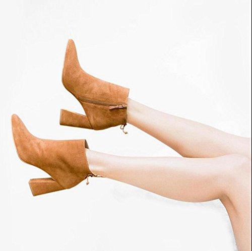 KHSKX-Tipp Seite Reißverschluss-Stiefel Dicke Mit Einem Halteband Martin Stiefel Braun 7 Cm Single Blanke Stiefel 37