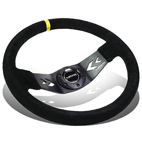 Personal Steering Wheel - NRG 350mm Black Suede / Black Spokes / Yellow Stripe 6-Bolt Spoke Aluminum Racing Steering Wheel + Horn Button