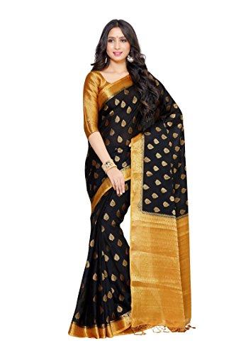 Kupinda Crepe Saree Kanjivaram Style Color: Mustard (4034-253-2D-BLK-CKU)