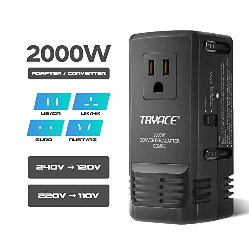 TryAce 2000W All in One Travel Voltage Converter for Hair Dryer Straightener, Set Down 220V to 110V, US UK AU EU Worldwide Plug for Over 200 Countries (Black2) 1600 Watt Travel Converter