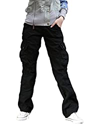 Women's Casual Cargo Pants Solid Military Army Styles Cotton Trousers
