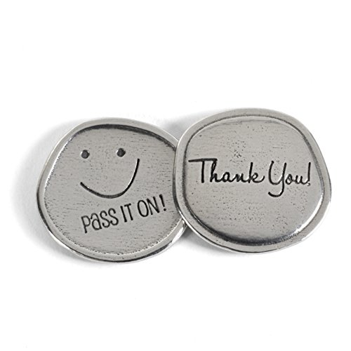 The Barrington Garage Thank You, Smiley Face, Pass It On, Pewter Sentiment Coins, Set of 8 -