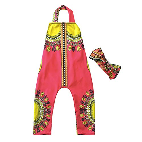 ♡QueenBB♡ Kids Boy Girl Sleeveless Print Romper Harem Pants Jumpsuit Playsuit African Print Witih Hair Band 2Pcs Watermelon -