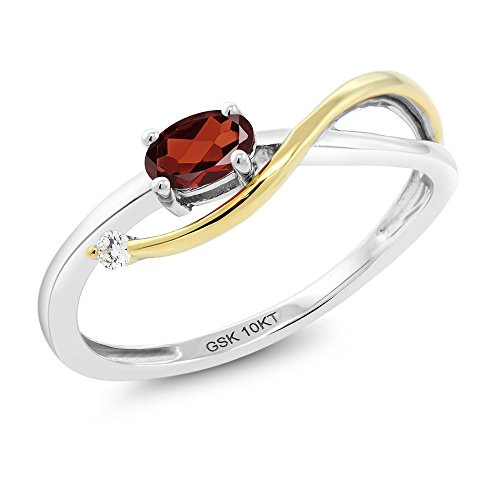 Gem Stone King 10K 2-Tone Gold 0.32 Ct Red Garnet and Diamond Engagement Ring (Size 6)