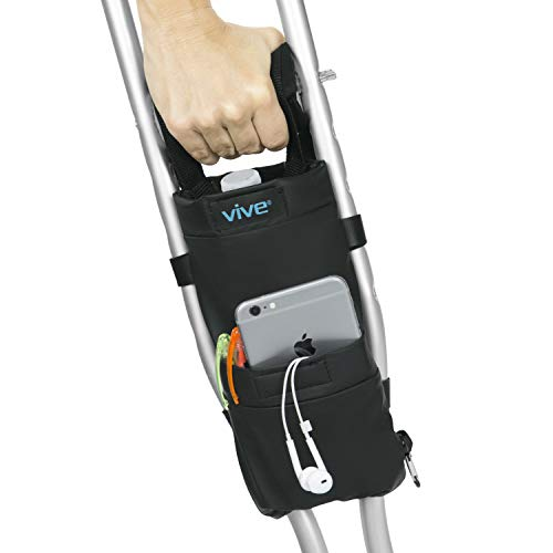 Vive Crutch Pouch - Bag with Foam Hand Grip Pads - Tote for Broken Leg Crutches with Storage Pockets - Ergonomic, Orthopedic, Lightweight Carry On - Medical Forearm Crutch Accessories (Black)