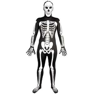 Wicked - Disfraz de lycra con diseño de esqueleto fluorescente (talla S), color blanco y negro