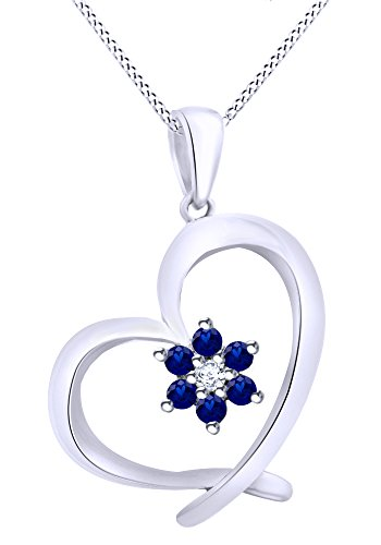 AFFY Round Cut Simulated Blue Sapphire With White Diamond Floral Heart Pendant Necklace In 10K Solid White Gold