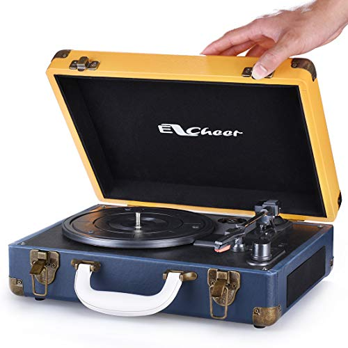 Vinyl Record Player, EZCHEER Vintage Turntable 3-Speed Wireless BT Record Player with Speakers, Suitcase Portable LP Vinyl Player, RCA Audio Output, 3.5mm AUX Input