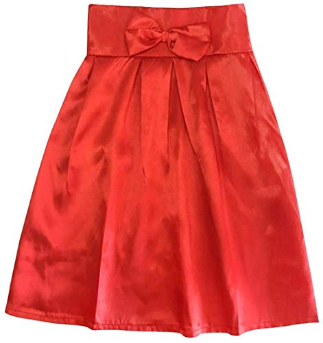 Size Red Home Plissettate Rise color Girls Red A Gonne S Con Dress Vita Alta High Bowknot Fiocco O5gwq6Ag