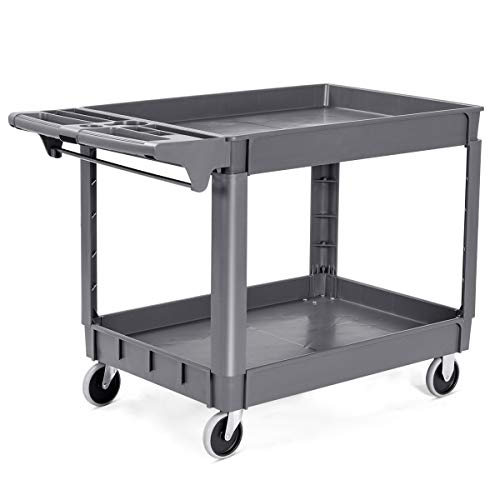 "Goplus Plastic Service Cart Utility Storage Cart for All Purpose 550 LBS Capacity (2 Shelves 46"" x 25"" x 33"") from Goplus"