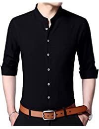 Mens Long Sleeve Slim Fit Banded Collar Cotton Button Down Dress Shirts