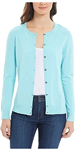 Button Fine Gauge Front - Jones New York Ladies Front Button Fine Gauge Knit Cardigan (XXL, Blue)