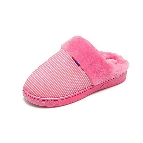 Cwaixxzz Pantoufles Douces Hiver Chaud Pantoufles Femmes En Coton Chaussures D'intérieur Confortable De Vie Et Doux Pantoufles En Peluche Antidérapantes Couples, Hommes Pantoufles, 38-39 (habituellement 37-38), Ros