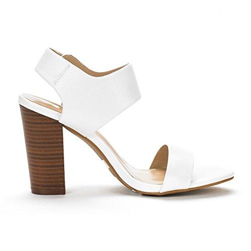 Pu PAIRS Heel Sandals Mid Womens Chunky Toe White Open DREAM Pump pwvC4qC