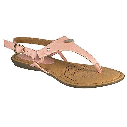 Angelina Femme Vegan Cuir Confort String Sandale Rose