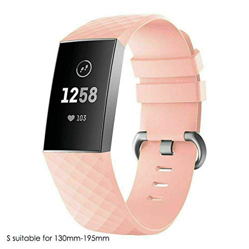 E-Universal Classic Replacement Strap Band for Women Men, Adjustable Strap with Classic Aluminum Alloy Buckle Compatible for Fitbit Charge 3 Fitness Tracker (Large, Peach) ()