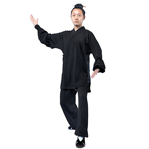 ZooBoo Tai Chi Uniform Clothing - Qi Gong Martial Arts Wing Chun Shaolin Kung Fu Training Cloths Apparel Clothing - Hemp (XL, Black)
