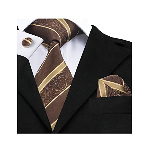Mens Silk Check Stripe and Wang Set Handkerchief Tie Barry Ties Brown 5UOznq