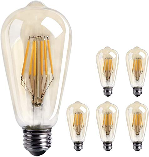 Brightown Edison LED Bulb 6 Pack, Natural White 4000K, 6-Watt Filament Light Bulb, 60 Watt Equivalent ST64 A19 LED Replacement Bulb for Reading Cage Pendant Lights Wall Sconces, Dimmable from Brightown