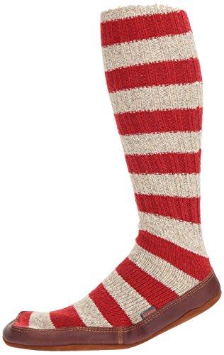 Ragg Sock Wool Stripe Acorn Unisex Slipper Red Eq47XSw