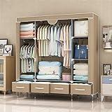 غرفة نوم النوم المهجع القابل للطي قماش قماش خزانة واحدة خزانة تخزين سهلة التركيب توفر مساحة تخزين لتخزين الملابس مع 4…