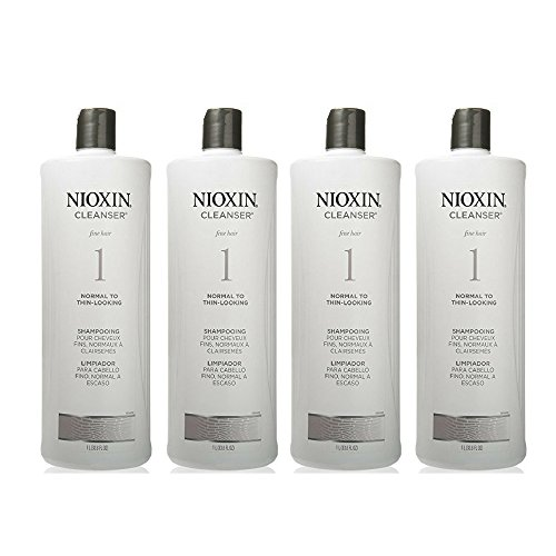 Nioxin Cleanser, System 1 (Fine Hair/Normal to Thin-Looking) Shampoo, 33.8 Ounce (4 pack) by by Nioxin