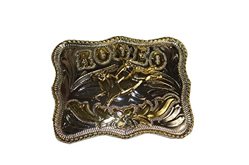 A&G Western Rodeo Belt Buckle with a Bull Rider, Cowboy, Cowgirl (Gold)