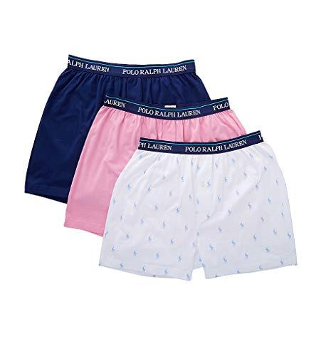 Polo Ralph Lauren Classic Fit Cotton Knit Boxers - 3 Pack (RCKBS3) L/White/Pink/Royal