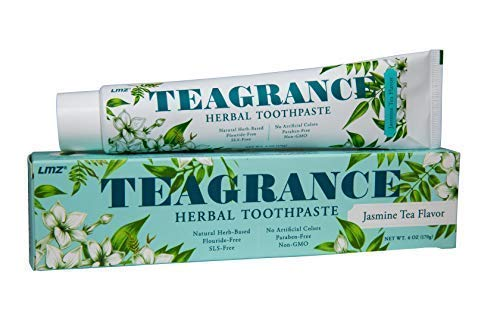 6 OZ BIG TUBE GREAT VALUE! Teagrance Herbal Toothpaste Jasmine Tea Flavor Great Smell and Taste Fluoride Free SLS Free Non GMO Paraben Free Oral Care with Herbs 1 count ($0 Shipping)