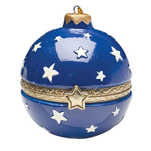 Bandwagon Christmas Decoration - Porcelain Surprise Ornaments Box - Blue Stars