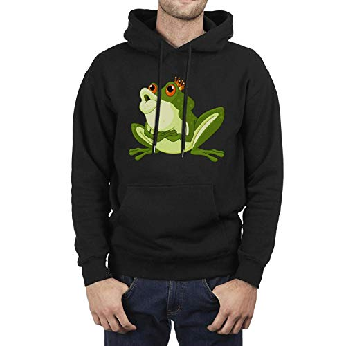 (Funny Green Prince Frog with Crown kiss Black Hoodie Sweatshirt for Men Casual Fleece Warm Pullover)