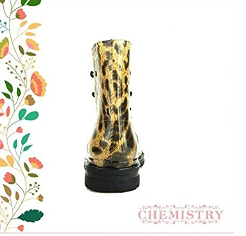 Water High Yellow Jelly Warm Round Rain Snow Ankle Leopard Toe Chemistry Proof Boots XwOxPXd