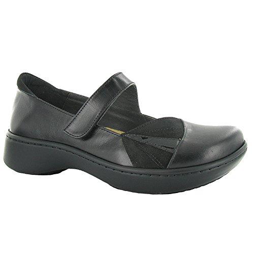 Naot Adriatic Shell Femmes Appartements Chaussures Noir Madras / Velours / Daim / Pat