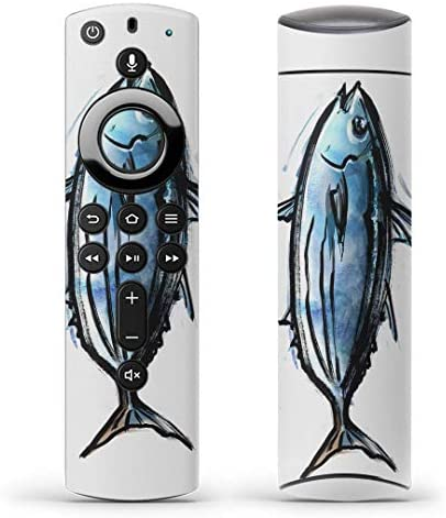 igsticker Fire TV Stick 第2世代 専用 リモコン用 全面 スキンシール フル 背面 側面 正面 ステッカー ケース 保護シール 002649 アニマル 魚 イラスト