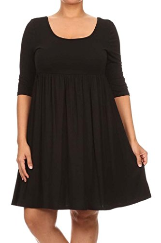 PLUS Women's 3/4 Sleeve Empire Waist Baby doll Dress MAID IN USA (X-Large, Black)