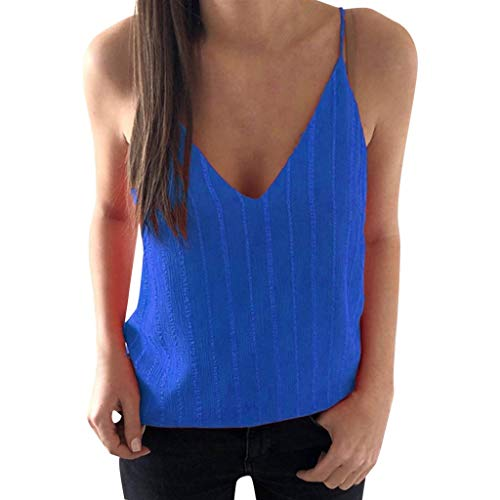 (YOcheerful Women's Sexy Tops V-Neck Camisoles Solid Color Vertical Striped Shirt Slim Vests(Blue, 3XL))