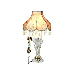 FACAIG White Telephone Pastoral of resin carved dim table lamp fixed network telephone budget with audio functions Welcome (Color bronze)