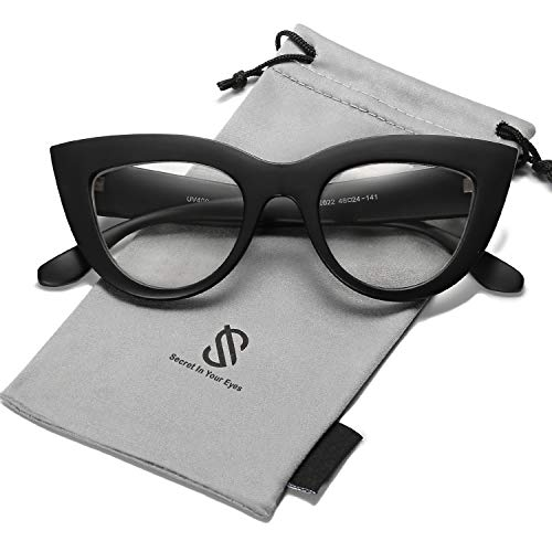 SOJOS Vintage Cateye Eyeglasses for Women Eyewear Frame Clear Lens Glasses SJ2939 with Black Frame/Clear ()