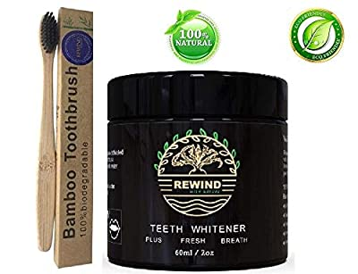 Pure Activated Charcoal Natural Teeth Whitening Powder | Bonus Bamboo Toothbrush Works Like Charcoal Toothpaste, Gels