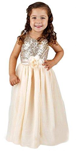 - Bow Dream Flower Girl's Dress Sequins Tulle Gold 8